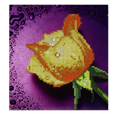 28 x 30cm 5D Dripping Rose Painting Cross Stitch Tool