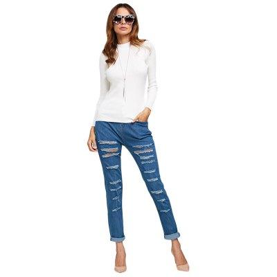 Women Simple Style Pure Color Rib Knitted Pullover