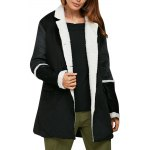 Women Simple Turn Down Collar Color Block Chunky Coat deal