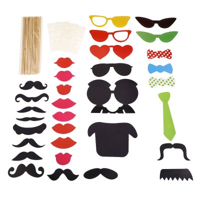 32pcs Colorful Photo Booth Props Decoration for Christmas Party Birthday Halloween Wedding