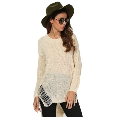 Women Chic Round Collar Frayed Asymmetrical Pullover