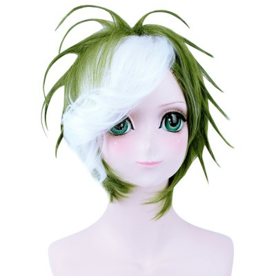 Short Straight Mixed Colors White Green Wig