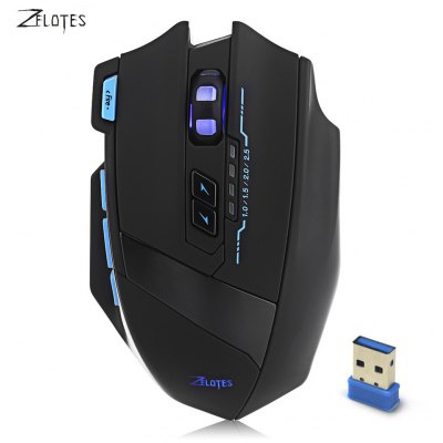 ZELOTES F - 15 2500DPI Wireless / Wired Gaming Ergonomic Design Optical Mouse