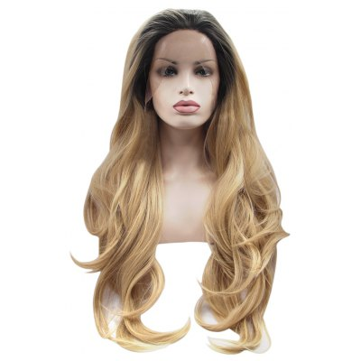 Premium Ombre Long Natural Body Wave Blonde Wigs Synthetic Heat Resistant Lace Front Hair