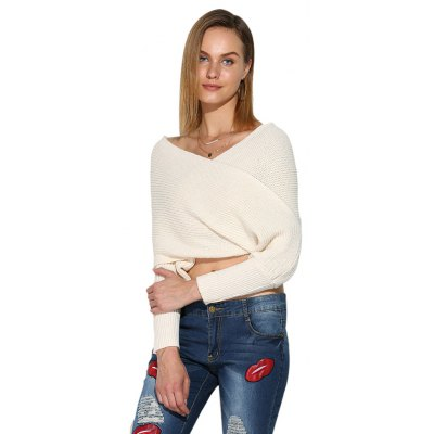 V-neck Wrap Pure Color Women Crop Top