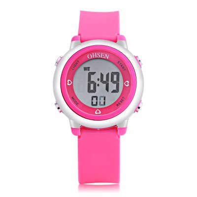 OHSEN 1605 Kids LED Digital WatchKids Watches<br>OHSEN 1605 Kids LED Digital Watch<br><br>Band Length: 7.6 inch<br>Band Material Type: Silicone<br>Band Width: 16mm<br>Case material: Plastic<br>Case Shape: Round<br>Clasp type: Pin Buckle<br>Dial Diameter: 1.26 inch<br>Dial Display: Digital<br>Dial Window Material Type: Glass<br>Feature: Auto Date,Back Light,Chronograph,Date,Day,Led Display,Luminous<br>Gender: Children<br>Movement: Digital<br>Style: Sport<br>Water Resistance Depth: 50m<br>Product weight: 0.027 kg<br>Package weight: 0.092 kg<br>Product Size(L x W x H): 22.50 x 3.20 x 1.20 cm / 8.86 x 1.26 x 0.47 inches<br>Package Size(L x W x H): 7.50 x 7.50 x 8.00 cm / 2.95 x 2.95 x 3.15 inches<br>Package Contents: 1 x OHSEN 1605 Kids LED Digital Watch