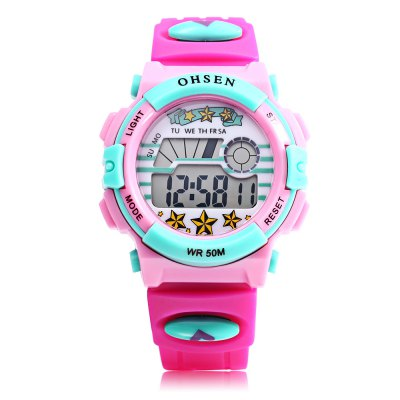 OHSEN 1603 Kids LED Digital WatchKids Watches<br>OHSEN 1603 Kids LED Digital Watch<br><br>Band Length: 7.36 inch<br>Band Material Type: Silicone<br>Band Width: 16mm<br>Case material: Plastic<br>Case Shape: Round<br>Clasp type: Pin Buckle<br>Dial Diameter: 1.50 inch<br>Dial Display: Digital<br>Dial Window Material Type: Glass<br>Feature: Auto Date,Back Light,Chronograph,Date,Led Display,Luminous<br>Gender: Children<br>Movement: Digital<br>Style: Sport<br>Water Resistance Depth: 50m<br>Product weight: 0.035 kg<br>Package weight: 0.120 kg<br>Product Size(L x W x H): 22.50 x 3.80 x 1.50 cm / 8.86 x 1.5 x 0.59 inches<br>Package Size(L x W x H): 7.50 x 7.50 x 8.00 cm / 2.95 x 2.95 x 3.15 inches<br>Package Contents: 1 x OHSEN 1603 Kids LED Digital Watch