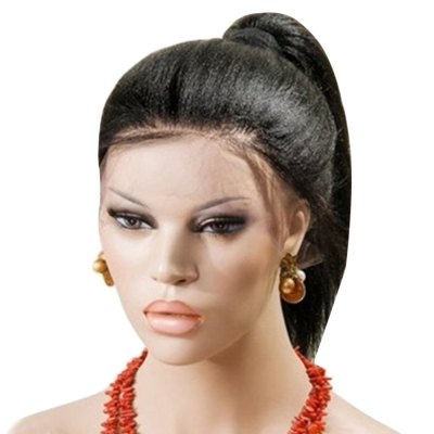 Synthetic Lace Front Kinky Straight Black Wig Hand Tied Glueless High Density Heat Resistant Fiber Party Show
