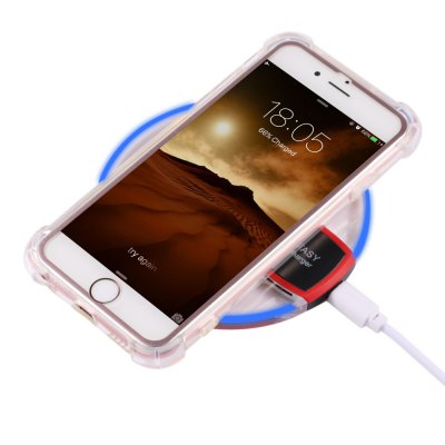 Qi Wireless Charger + Charging Receiver + Transparent Case