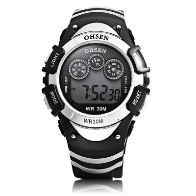 OHSEN 0815 Kids LED Digital WatchKids Watches<br>OHSEN 0815 Kids LED Digital Watch<br><br>Band Length: 8.19 inch<br>Band Material Type: Silicone<br>Band Width: 20mm<br>Case material: Plastic<br>Case Shape: Round<br>Clasp type: Pin Buckle<br>Dial Diameter: 1.59 inch<br>Dial Display: Digital<br>Dial Window Material Type: Glass<br>Feature: Auto Date,Back Light,Chronograph,Date,Day,Led Display,Luminous<br>Gender: Children<br>Movement: Digital<br>Style: Sport<br>Water Resistance Depth: 30m<br>Product weight: 0.045 kg<br>Package weight: 0.130 kg<br>Product Size(L x W x H): 25.00 x 4.20 x 1.50 cm / 9.84 x 1.65 x 0.59 inches<br>Package Size(L x W x H): 7.50 x 7.50 x 8.00 cm / 2.95 x 2.95 x 3.15 inches<br>Package Contents: 1 x OHSEN 0815 Kids LED Digital Watch