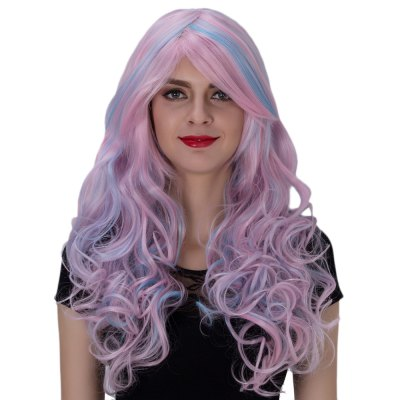 Harajuku Ombre Long Wavy Side Bangs Mixed Colors Synthetic Wigs