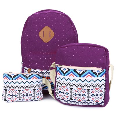 3pcs Print Zipper Type Student Backpack Travel BagWomens Bags<br>3pcs Print Zipper Type Student Backpack Travel Bag<br><br>Handbag Type: Backpack<br>Style: Casual<br>Gender: For Women<br>Pattern Type: Print<br>Handbag Size: Medium(30-50cm)<br>Closure Type: Zipper<br>Interior: Cell Phone Pocket,Interior Compartment,Interior Slot Pocket,Interior Zipper Pocket<br>Hardness: Soft<br>Internal Material: Polyester<br>External Material: Canvas<br>Size(CM)(L*W*H): Backpack size: 27 x 11 x 44 cm / 10.63 x 4.33 x 17.32 inch<br>Product weight: 0.315 kg<br>Package weight: 0.520 kg<br>Product size (L x W x H): 40.00 x 32.00 x 10.00 cm / 15.75 x 12.6 x 3.94 inches<br>Package size (L x W x H): 40.50 x 32.50 x 10.50 cm / 15.94 x 12.8 x 4.13 inches<br>Package Contents: 1 x Backpack, 1 x Shoulder Messenger Bag, 1 x Wrist Wallet