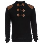Patchwork Horn Button Design Male Sweater Coat