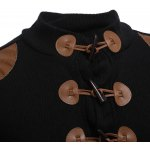 Patchwork Horn Button Design Male Sweater Coat deal