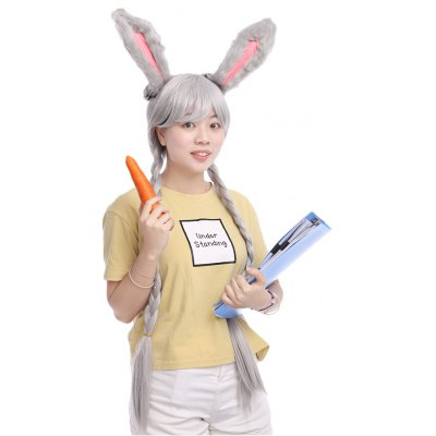 Funny Animal Cosplay Rabbit Gray Wig with Ears Double Braids