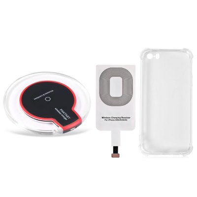 Qi Wireless Charger + Charging Receiver + Transparent Cover