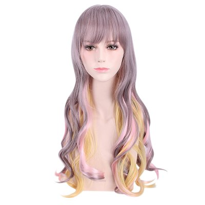 Colorful Harajuku Cosplay Long Loose Curly Synthetic Wig for Women