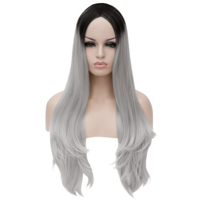 Long Loose Wavy Side Parting Gradient Colors Synthetic Wig