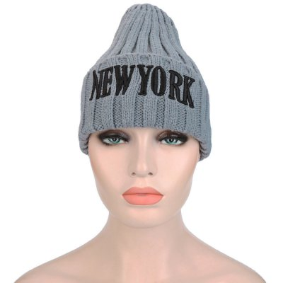 Letter Print Solid Color Ladies Knitted Hat