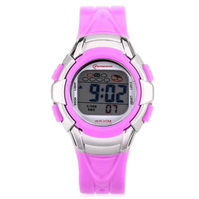 MINGRUI 8512 Kids LED Digital WatchKids Watches<br>MINGRUI 8512 Kids LED Digital Watch<br><br>Band Length: 7.45 inch<br>Band Material Type: Plastic<br>Band Width: 16mm<br>Case material: Plastic<br>Case Shape: Round<br>Clasp type: Pin Buckle<br>Dial Diameter: 1.42 inch<br>Dial Display: Digital<br>Dial Window Material Type: Plastic<br>Feature: Auto Date,Back Light,Chronograph,Date,Day,Led Display,Luminous<br>Gender: Children<br>Movement: Digital<br>Style: Sport<br>Water Resistance Depth: 30m<br>Product weight: 0.025 kg<br>Package weight: 0.097 kg<br>Product Size(L x W x H): 22.50 x 3.60 x 1.30 cm / 8.86 x 1.42 x 0.51 inches<br>Package Size(L x W x H): 7.50 x 7.50 x 7.50 cm / 2.95 x 2.95 x 2.95 inches<br>Package Contents: 1 x MINGRUI 8512 Kids LED Digital Watch