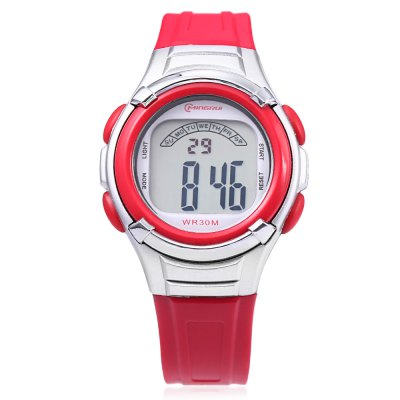 MINGRUI 8523 Kids LED Digital WatchKids Watches<br>MINGRUI 8523 Kids LED Digital Watch<br><br>Band Length: 7.48 inch<br>Band Material Type: Plastic<br>Band Width: 14mm<br>Case material: Plastic<br>Case Shape: Round<br>Clasp type: Pin Buckle<br>Dial Diameter: 1.38 inch<br>Dial Display: Digital<br>Dial Window Material Type: Plastic<br>Feature: Auto Date,Back Light,Chronograph,Date,Day,Led Display,Luminous<br>Gender: Children<br>Movement: Digital<br>Style: Sport<br>Water Resistance Depth: 30m<br>Product weight: 0.024 kg<br>Package weight: 0.096 kg<br>Product Size(L x W x H): 22.50 x 3.50 x 1.30 cm / 8.86 x 1.38 x 0.51 inches<br>Package Size(L x W x H): 7.50 x 7.50 x 7.50 cm / 2.95 x 2.95 x 2.95 inches<br>Package Contents: 1 x MINGRUI 8523 Kids LED Digital Watch