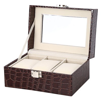 3 Slots Leather Watch Glass Display Box