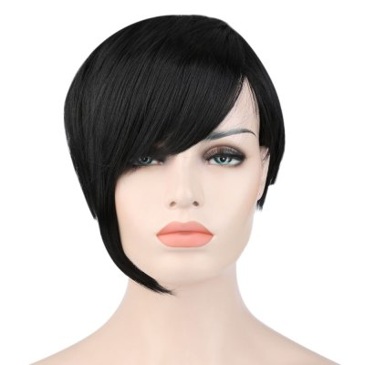 Women Stylish Handsome Ultra Short Natural Black Synthetic Wigs