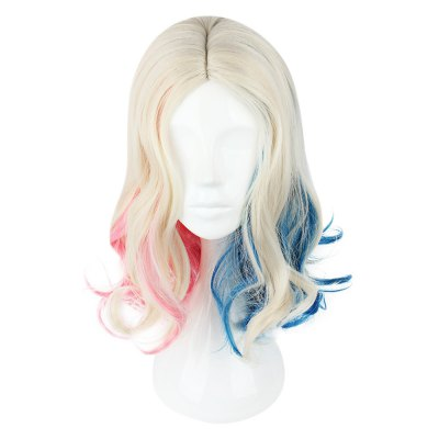 Long Curly Mixed Colors Pink Blue Cosplay Wigs