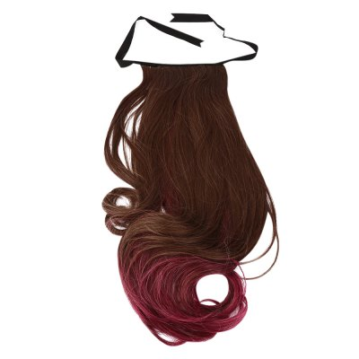 Strap Type Gradient Mixed Colors Synthetic Wig Ponytail Loose Wavy Half Hair