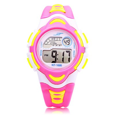 NT - 1695 Children Digital WatchKids Watches<br>NT - 1695 Children Digital Watch<br><br>Band Length: 7.6 inch<br>Band Material Type: Plastic<br>Band Width: 14mm<br>Case material: Plastic<br>Case Shape: Round<br>Clasp type: Pin Buckle<br>Dial Diameter: 1.46 inch<br>Dial Display: Digital<br>Dial Window Material Type: Plastic<br>Feature: Alarm,Auto Date,Back Light,Date,Day,Led Display,Luminous<br>Gender: Children<br>Movement: Digital<br>Style: Sport<br>Product weight: 0.027 kg<br>Package weight: 0.048 kg<br>Product Size(L x W x H): 23.00 x 3.70 x 1.30 cm / 9.06 x 1.46 x 0.51 inches<br>Package Size(L x W x H): 24.00 x 4.70 x 2.30 cm / 9.45 x 1.85 x 0.91 inches<br>Package Contents: 1 x NT - 1695 Children Digital Watch
