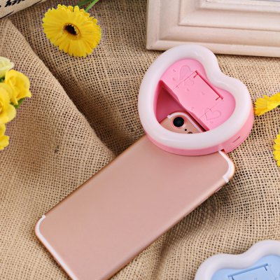 Selfie Heart-shaped Flash Light with Small Mirror