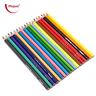 Maped 18 Colors Triangle Rod Wooden Colored Pencil for Kids