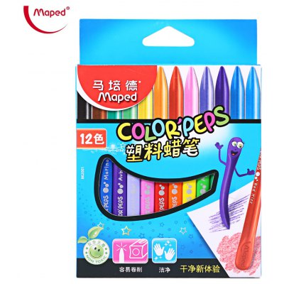 Maped Triangular Plastic Crayon with 12 Colors