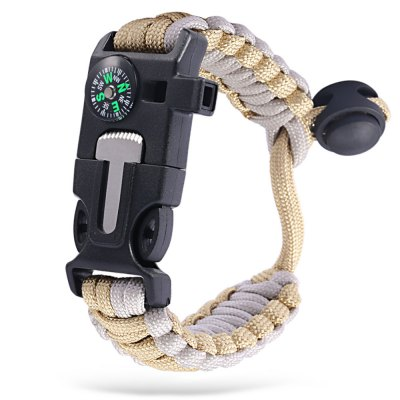 Multifunctional Knitted Parachute Bracelet Compass Whistle