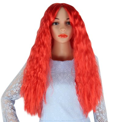Long Central Parting Wavy Red Wigs