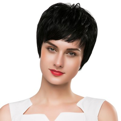 Stylish Short Straight Black Capless Full Human Hair Wigs with Side Bangs