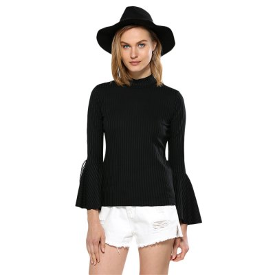 Women High Neck Flare Sleeve Rib Knitted Pullover