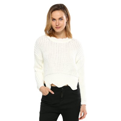 Round Collar Pure Color Women Knitted Pullover
