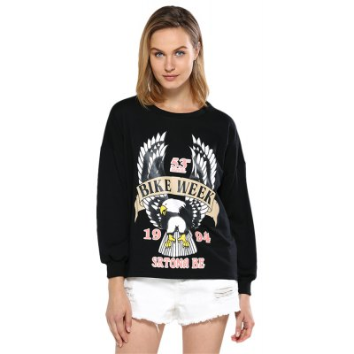 Street Style Pullover Sweatshirt with Print