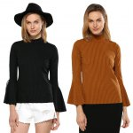 Women Chic Flare Sleeve Rib Knitted Pullover photo