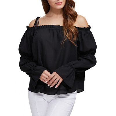 Women Sexy Off The Shoulder Pure Color Latern Sleeve Chiffon Blouse
