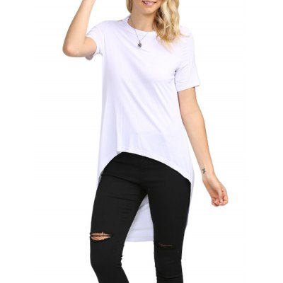 Backless Solid Color Asymmetrical Women T-Shirt