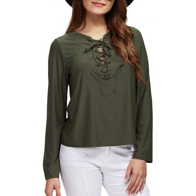 Women Chic Round Collar Front Criss Cross Blouse