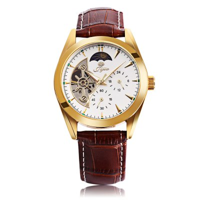 Jijia XG8015 Men Auto Mechanical WatchMens Watches<br>Jijia XG8015 Men Auto Mechanical Watch<br><br>Band Length: 8.47 inch<br>Band Material Type: Genuine Leather<br>Band Width: 18mm<br>Case material: Alloy<br>Case Shape: Round<br>Clasp type: Pin Buckle<br>Dial Diameter: 1.51 inch<br>Dial Display: Analog<br>Dial Window Material Type: Hardlex<br>Feature: Luminous,Moon Phase<br>Gender: Men<br>Movement: Automatic Self-Wind<br>Style: Business<br>Product weight: 0.059 kg<br>Package weight: 0.252 kg<br>Product Size(L x W x H): 25.50 x 4.00 x 1.20 cm / 10.04 x 1.57 x 0.47 inches<br>Package Size(L x W x H): 14.50 x 11.00 x 6.00 cm / 5.71 x 4.33 x 2.36 inches<br>Package Contents: 1 x Jijia XG8015 Men Auto Mechanical Watch, 1 x Digital Watch for Gift