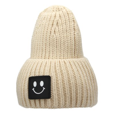 Smile Face Design Solid Color Unisex Knitted Hat