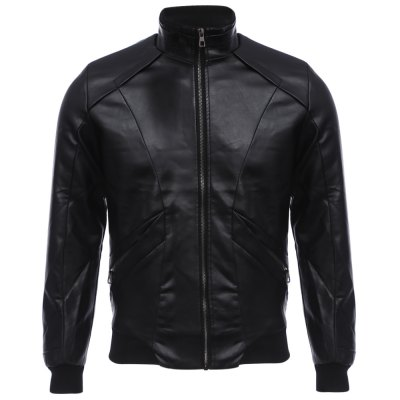 Stand Collar Zipper Design Male Warm Slim Fit Leather Coat
