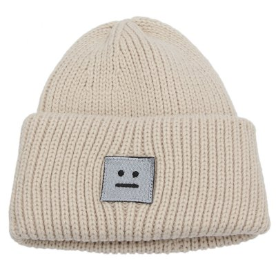 Smile Face Decoration Warm Knitted Hat for Girls