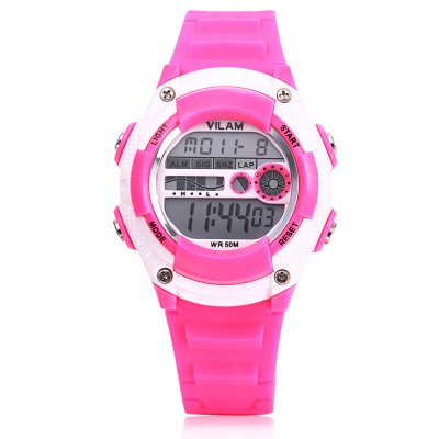 VILAM 0351 Digital Sports WatchKids Watches<br>VILAM 0351 Digital Sports Watch<br><br>Band Length: 7.87 inch<br>Band Material Type: Silicone<br>Band Width: 16mm<br>Case material: Plastic<br>Case Shape: Round<br>Clasp type: Pin Buckle<br>Dial Diameter: 1.38 inch<br>Dial Display: Digital<br>Dial Window Material Type: Plastic<br>Feature: Alarm,Auto Date,Back Light,Chronograph,Date,Day,Led Display,Luminous<br>Gender: Children<br>Movement: Digital<br>Style: Sport<br>Water Resistance Depth: 50m<br>Product weight: 0.032 kg<br>Package weight: 0.126 kg<br>Product Size(L x W x H): 23.50 x 3.50 x 1.30 cm / 9.25 x 1.38 x 0.51 inches<br>Package Size(L x W x H): 9.00 x 9.00 x 8.00 cm / 3.54 x 3.54 x 3.15 inches<br>Package Contents: 1 x Watch