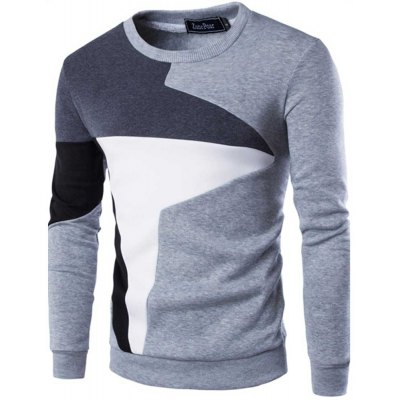 Color Block Long Sleeve Male Pullover Sweater