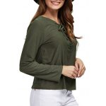 Women Chic Round Collar Front Criss Cross Blouse deal
